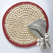 Kathy Ireland Crochet Placemat Set and Rustic Napkin Set