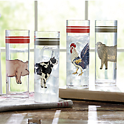 Set of 4 Farm Animal Glasses