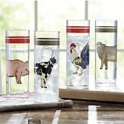 Set of 4 Farm Animal Glasses