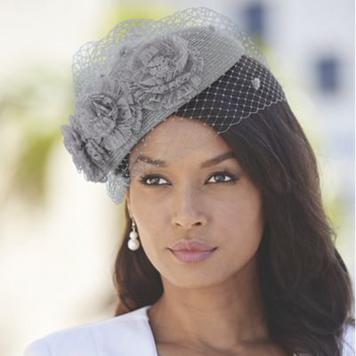 Straw Beret with Veil