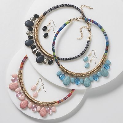 Faceted Accent Necklace and Earring Set