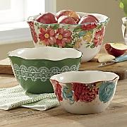 Vintage Floral Ceramic Bowls by Pioneer Woman