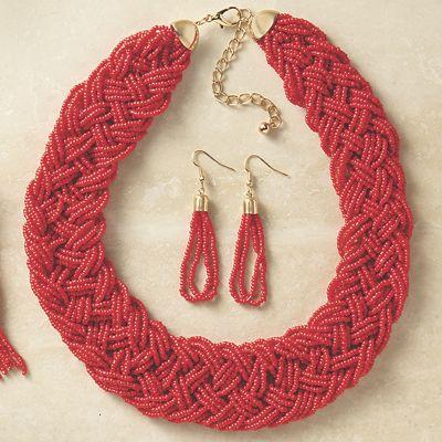 Beaded Braid Short Necklace/Earring Set