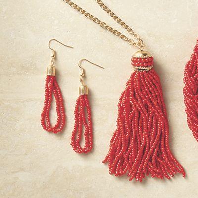 Beaded Tassel Long Necklace/Earring Set