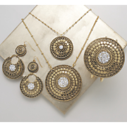 Crystal/Medallion Necklace, Bangle and Earrings