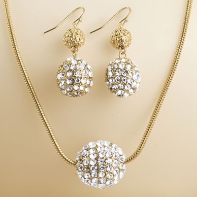 Crystal/Pavé Ball Necklace/Earring Set