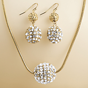 crystal pave ball necklace earring set