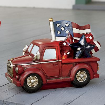 Resin American Flag Truck with LED Lights