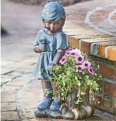 Girl Statue with Planter