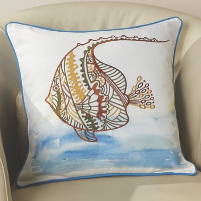Angelfish Embroidered Pillow