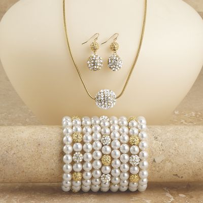 Crystal/Pavé Ball Necklace/Earring Set and Bracelet