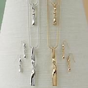 double twist long necklace earring set