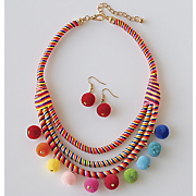 Multicolored Ball Necklace/Earring Set