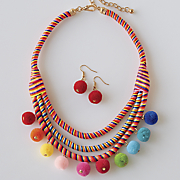 multicolored ball necklace earring set