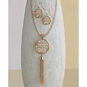 floral shimmer long necklace earring set