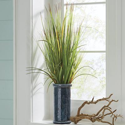 Grasses in Teal Vase