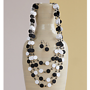 Black/White Necklace/Earring Set
