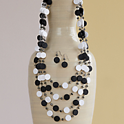 black white necklace earring set