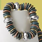 4 color metallic disc stretch bracelet