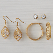 3 pair rhinestone glitter earring set