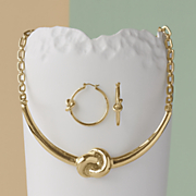 Knot Necklace/Hoop Set