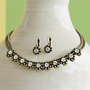 Crystal Curve-Bar Necklace/Earring Set