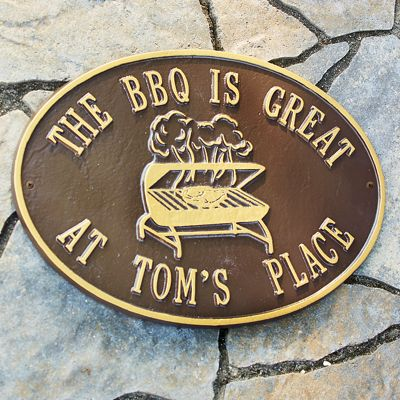 "Personalized ""Bbq Is Great"" Plaque"