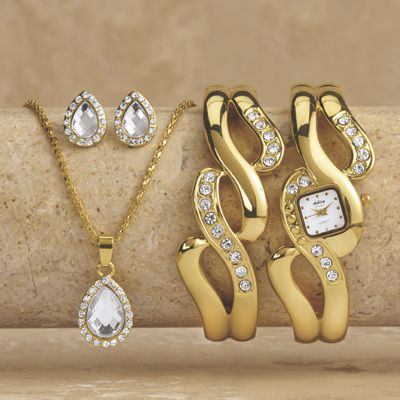 Hinged Bangle Watch/Jewelry Set