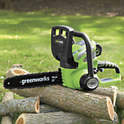 12  40 volt cordless chain saw by greenworks