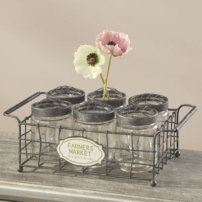 Canning Glass Jars and Carrier