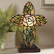 stained glass floral cross lamp