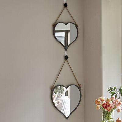 Set of 2 Heart Wall Mirrors