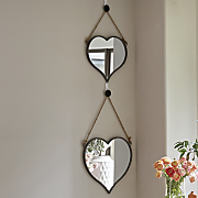 set of 2 heart wall mirrors