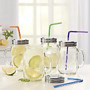 4 pc  mason jar with assorted straw set
