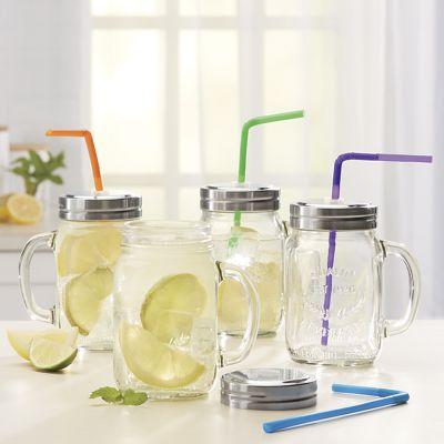 Mason Jar with Assorted Straw Set