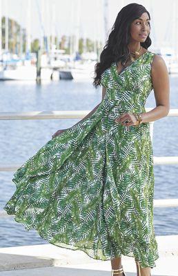 Dina Palm Print Dress