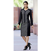 Striped Knit Skirt Suit