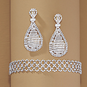 crystal pear earrings and choker