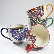 set of 4 assorted colored mugs
