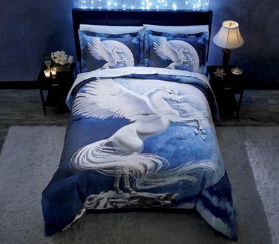 Winged Unicorn Comforter Set and Shower Curtain