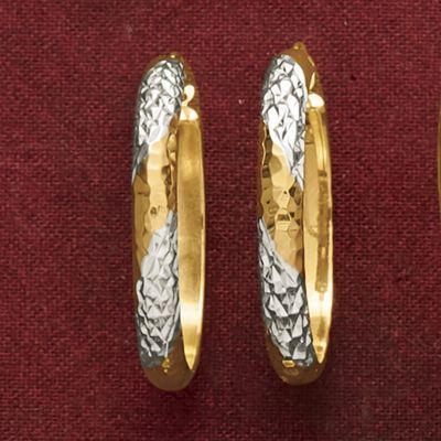 14K Gold Nano Diamond Resin Two-Tone Diamond Hoops
