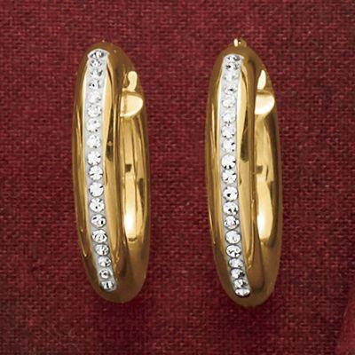 14K Gold Nano Diamond Resin Diamond Crystal Round Hoops