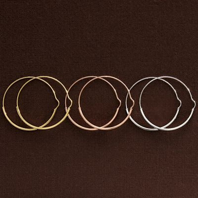 14K Gold Banded Round Hoops