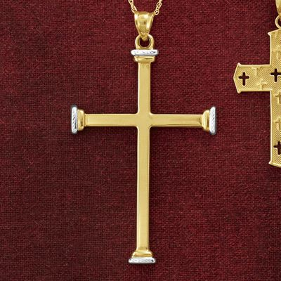 10K Gold Two-Tone Cross Pendant