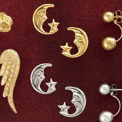 10K Gold Moon & Star Post Earrings