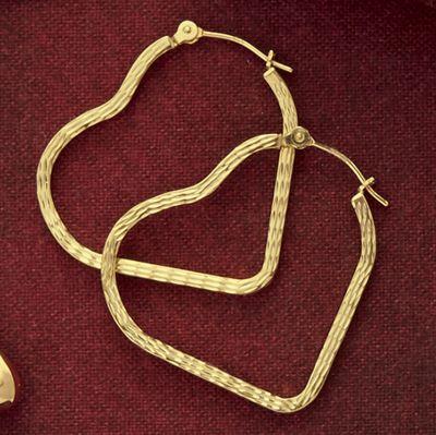 10K Gold Diamond-Cut Heart Hoops