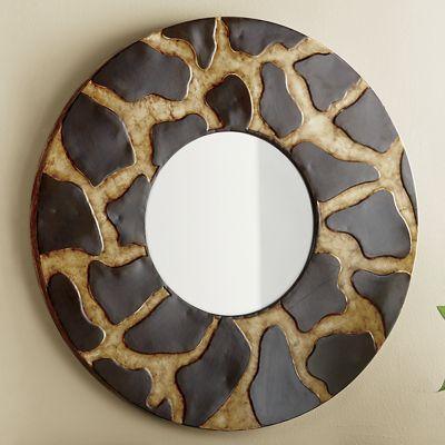Chic Print Round Mirror