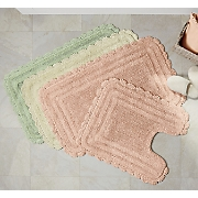 2-Piece Cecile Crochet Trimmed Bath Mat Set
