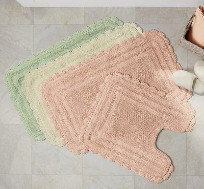 Cecile Crochet Trimmed Bath Mat Set