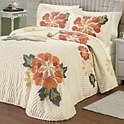 Autumn Floral Chenille Bedspread and Sham